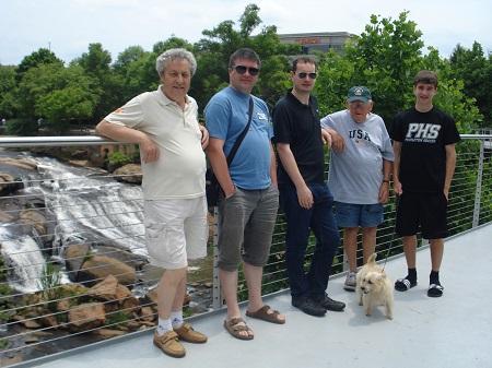 Jakez Pincet, Yann Pelliet, Andrew Carlisle, Jimmy et Cameron McIntosh en 2014 en Caroline du Sud